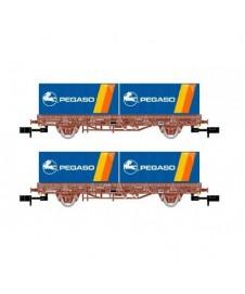Set 2 Vagones Plataforma Rojo Oxido Pegaso